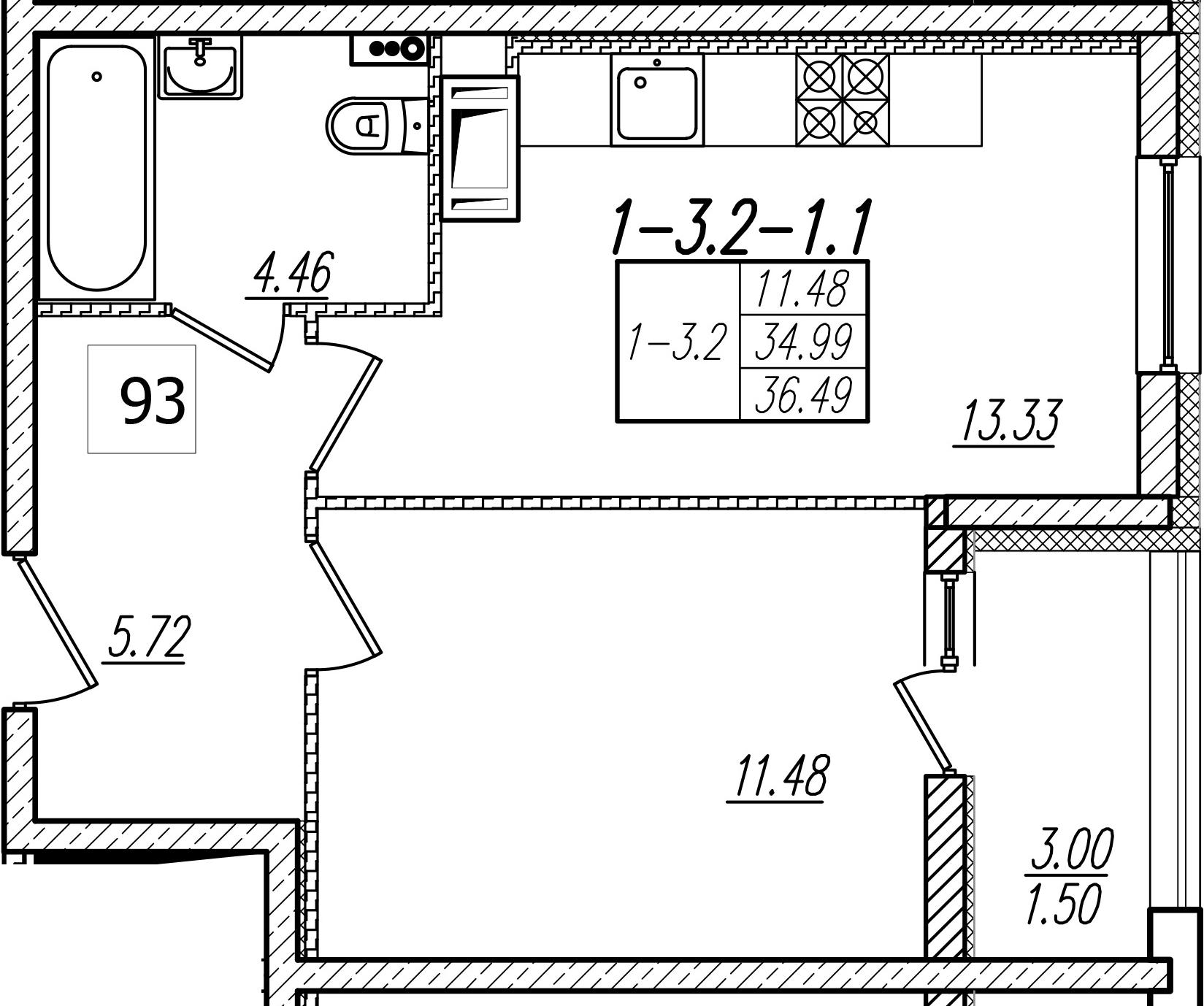 1-к.кв, 37.99 м²