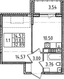 1-комнатная 35 м<sup>2</sup> на 5 этаже