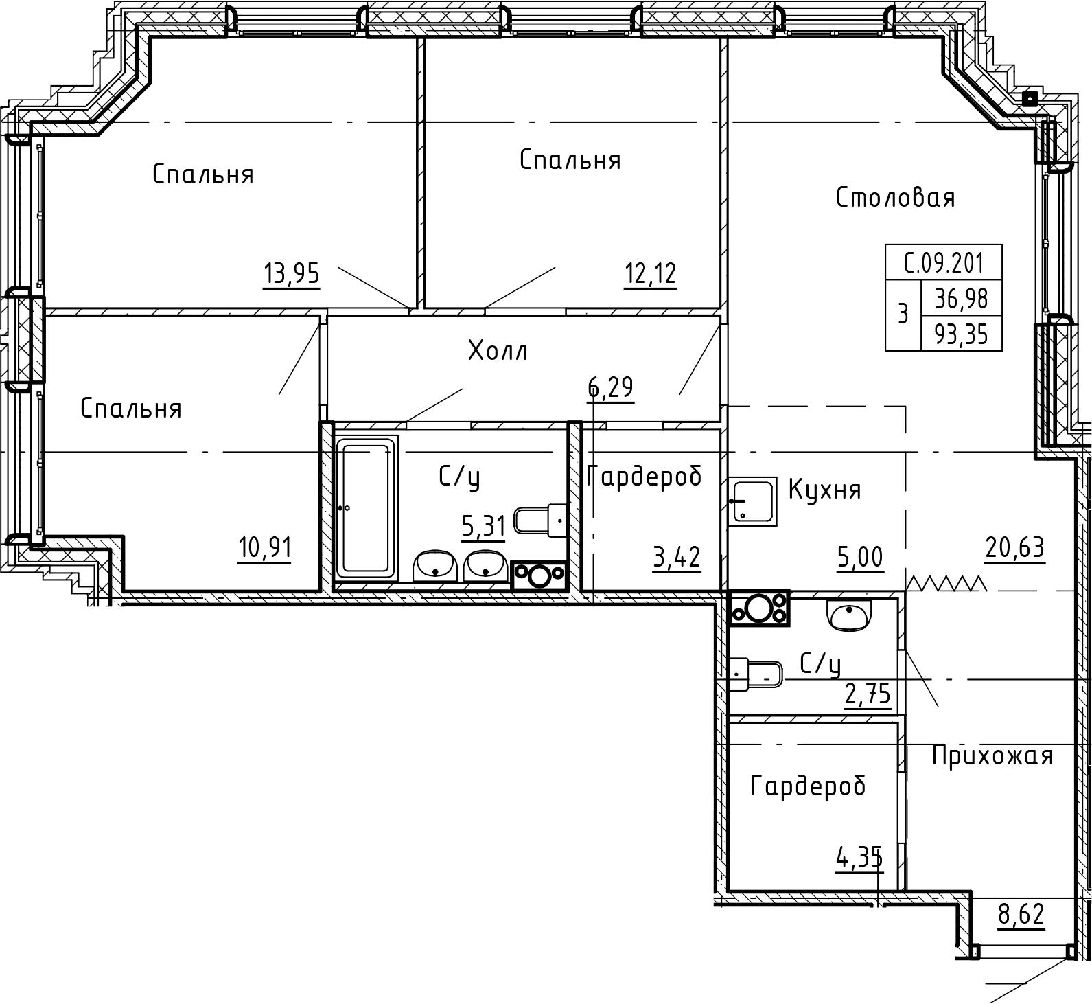 4-комнатная 93 м<sup>2</sup> на 9 этаже