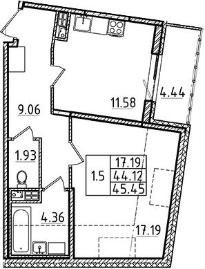 1-комнатная 48 м<sup>2</sup> на 5 этаже