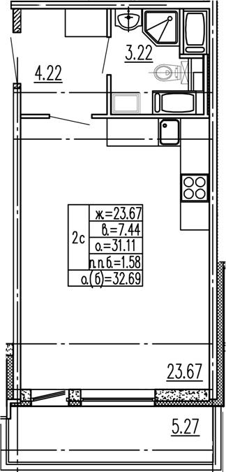 Студия 36 м<sup>2</sup> на 15 этаже