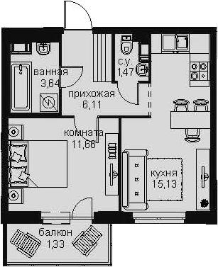 2-к.кв (евро), 42.44 м²