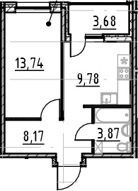 1-комнатная 39 м<sup>2</sup> на 3 этаже