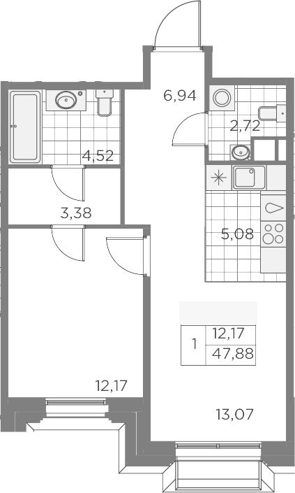 2-комнатная 47 м<sup>2</sup> на 3 этаже