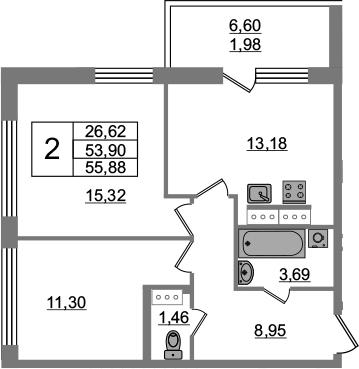 2-комнатная 60 м<sup>2</sup> на 15 этаже