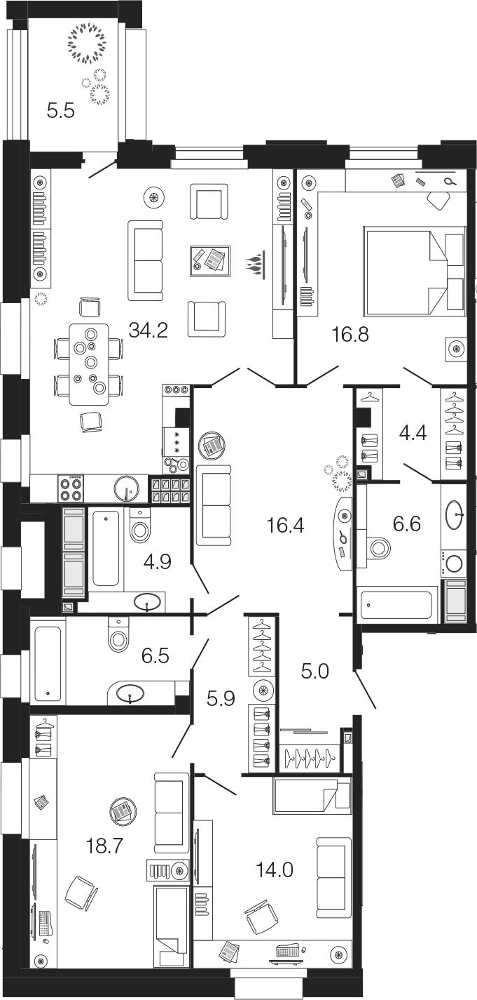 4-комнатная 138 м<sup>2</sup> на 7 этаже