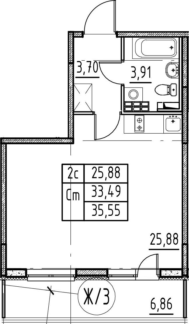 Студия 40 м<sup>2</sup> на 4 этаже