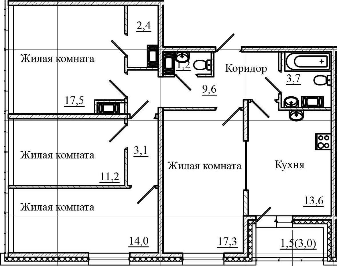 4-комнатная 96 м<sup>2</sup> на 18 этаже