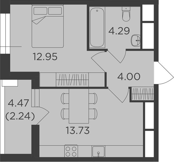 1-к.кв, 39.45 м²