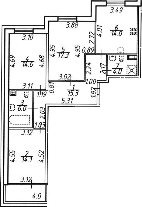 3-комнатная 89 м<sup>2</sup> на 9 этаже