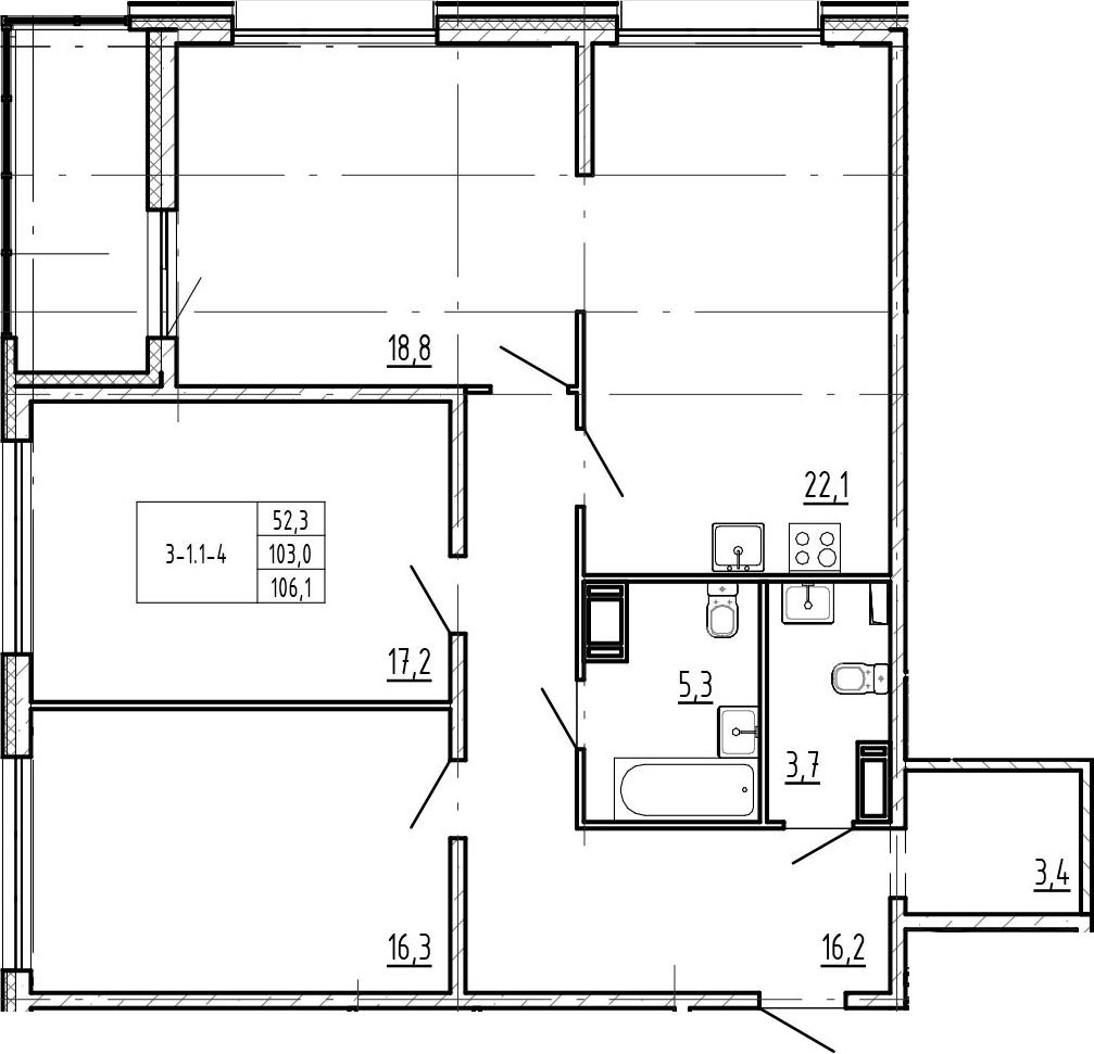 4-комнатная 109 м<sup>2</sup> на 6 этаже