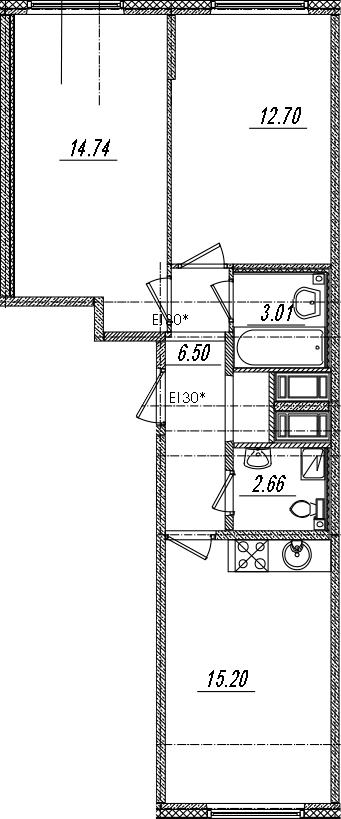 3-комнатная 54 м<sup>2</sup> на 14 этаже