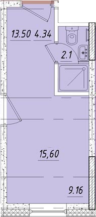 Студия 16 м<sup>2</sup> на 5 этаже