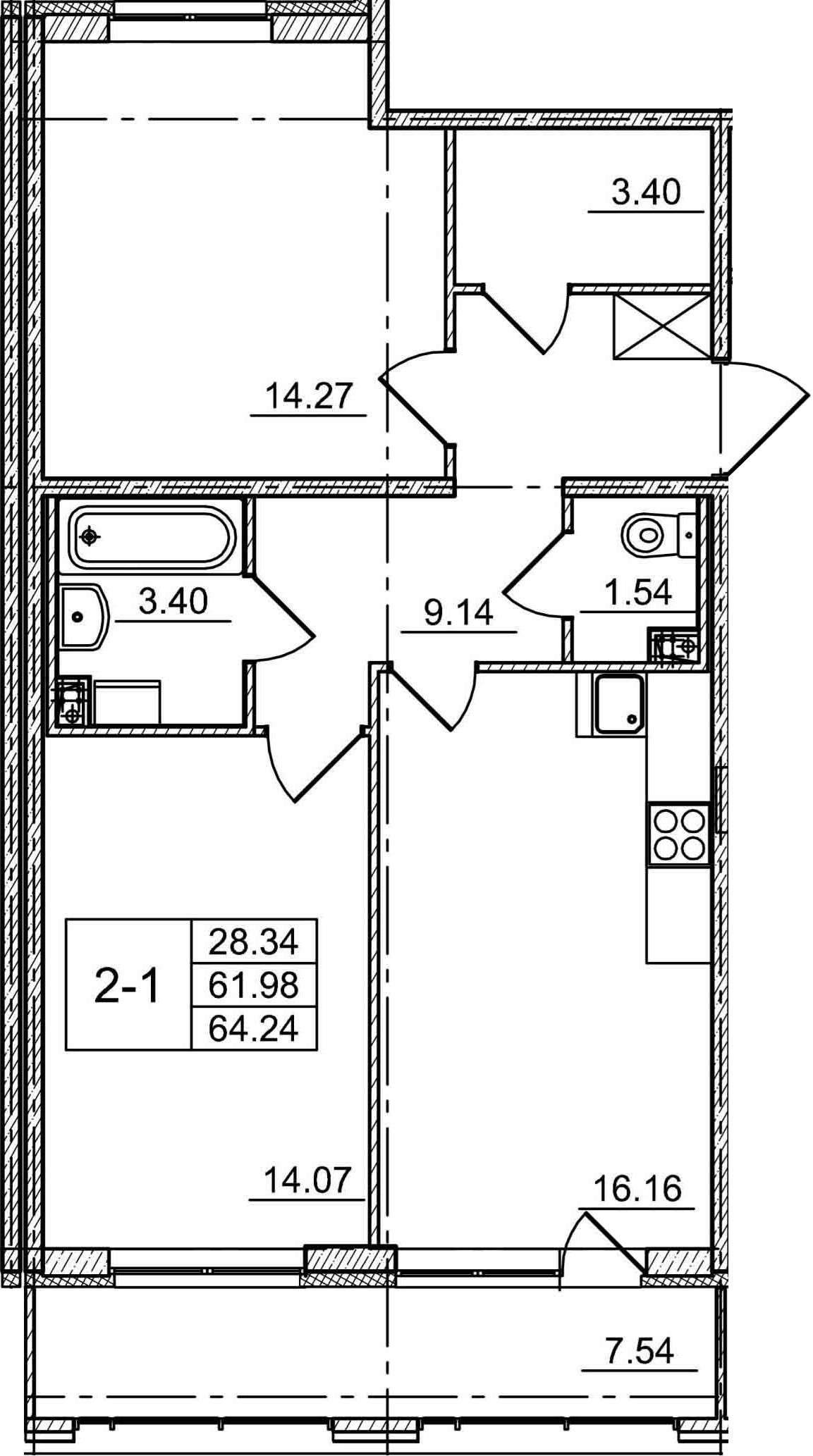 3-комнатная 69 м<sup>2</sup> на 1 этаже