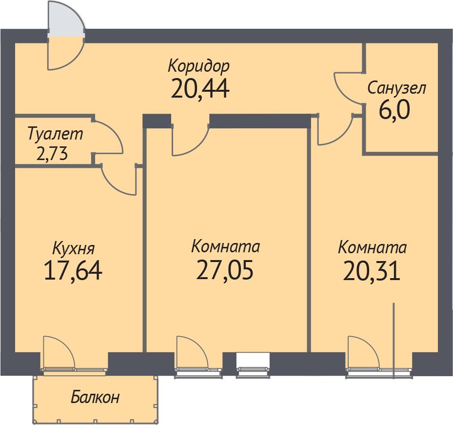 2-к.кв, 95.8 м²