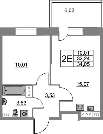 2-комнатная 38 м<sup>2</sup> на 8 этаже