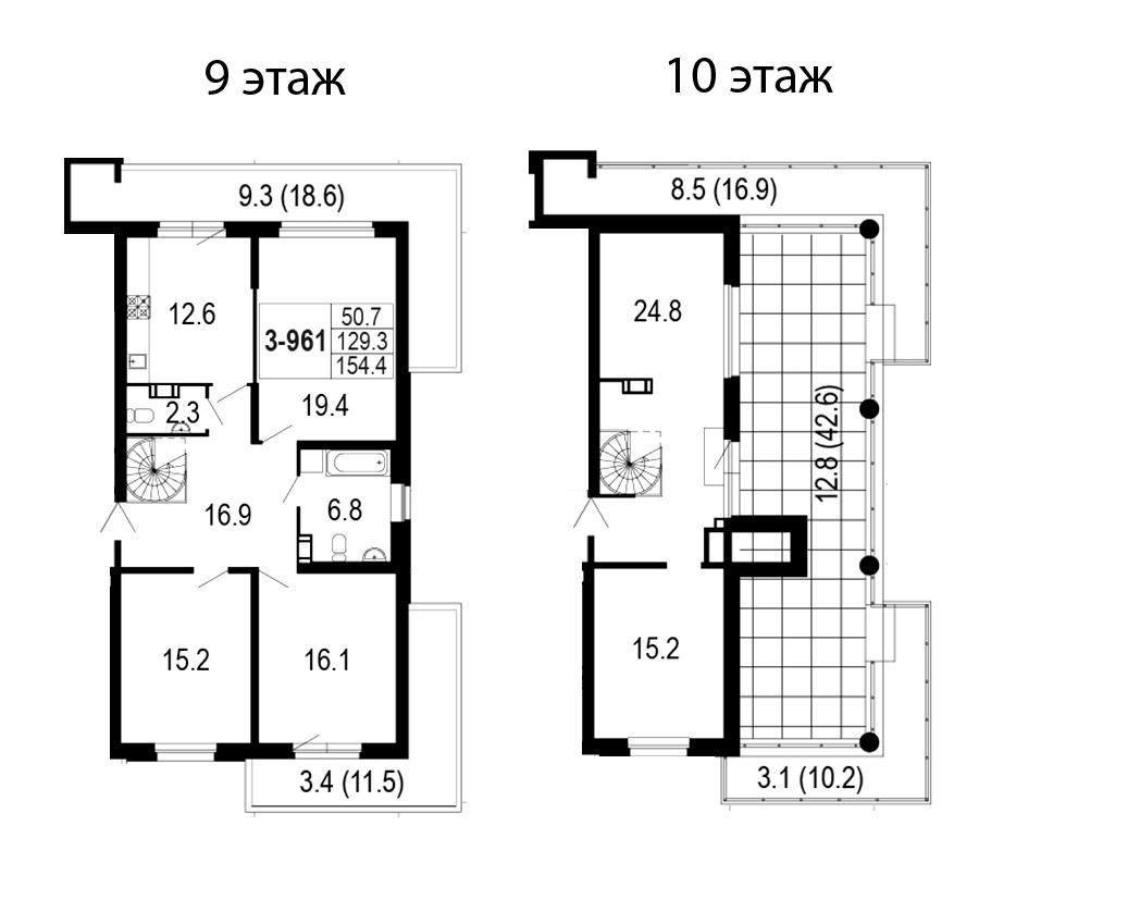 4-комнатная 217 м<sup>2</sup> на 9 этаже