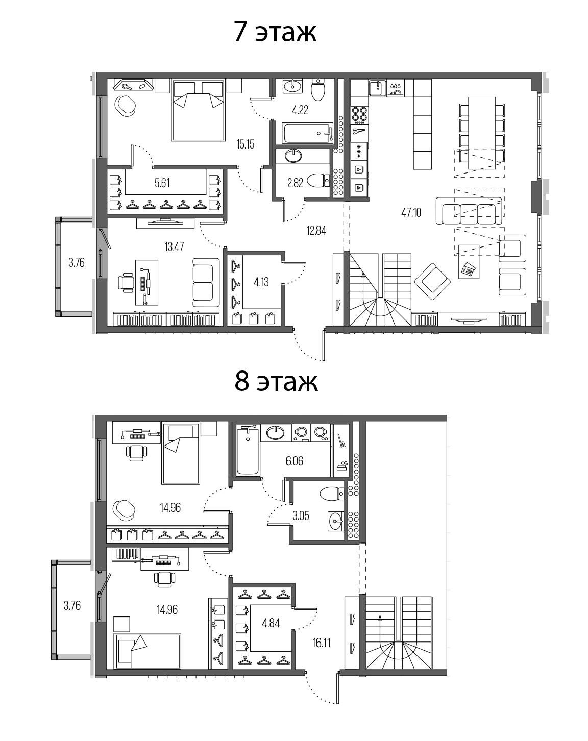 4-комнатная 172 м<sup>2</sup> на 7 этаже
