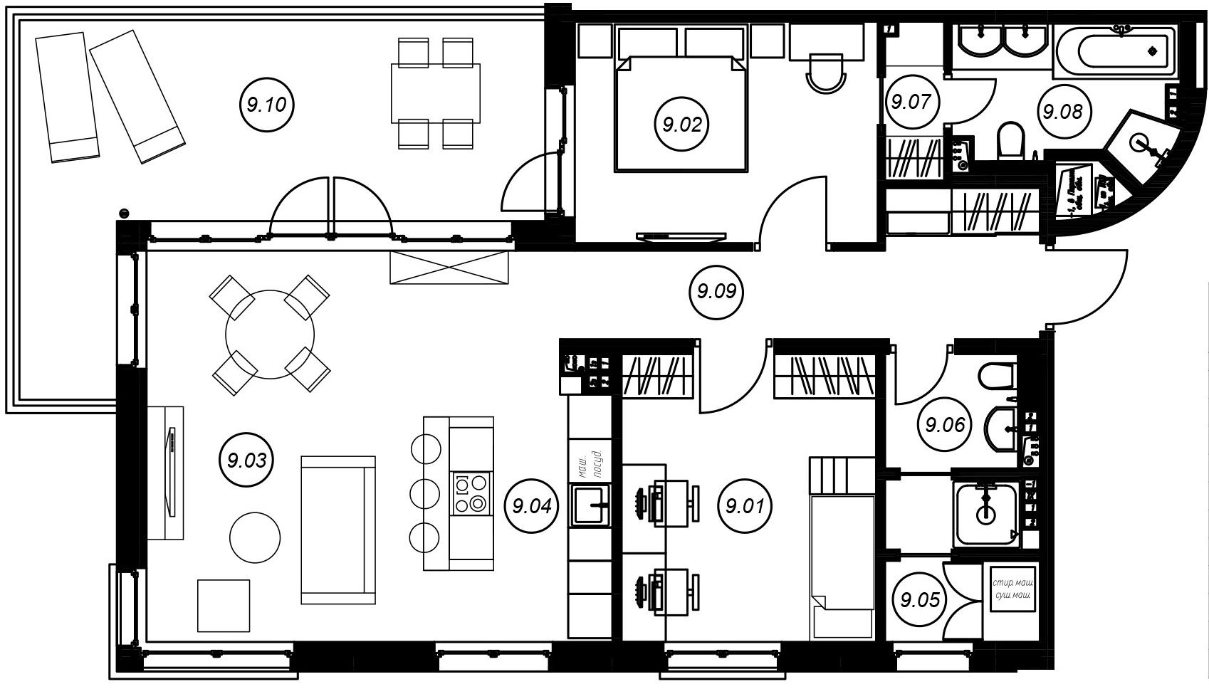 3-комнатная 104 м<sup>2</sup> на 3 этаже