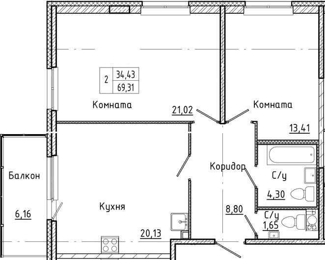 3-комнатная 75 м<sup>2</sup> на 3 этаже