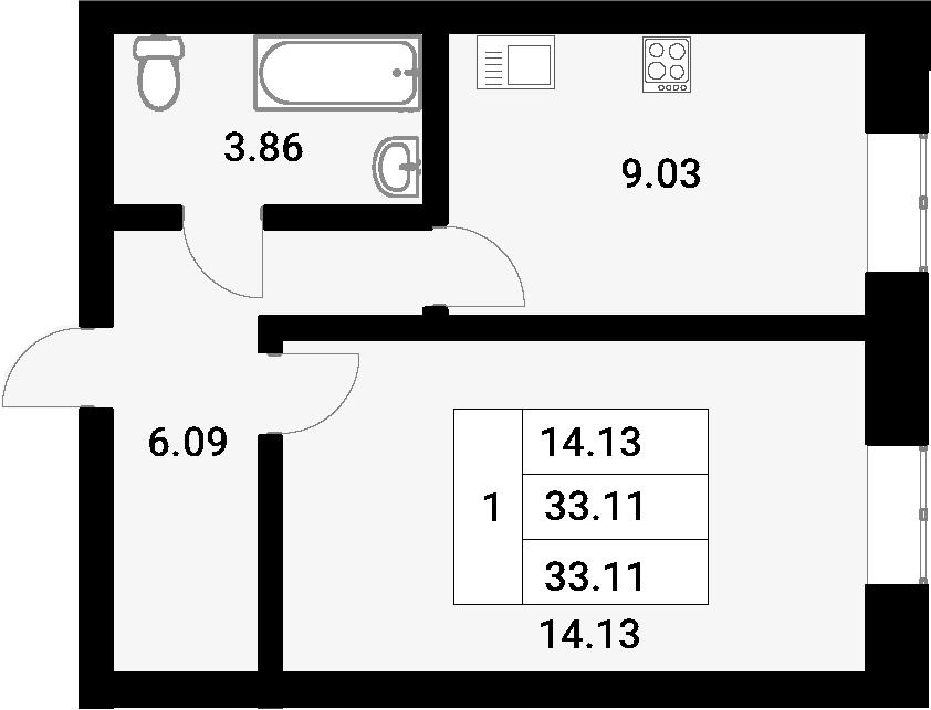 1-к.кв, 33.11 м²
