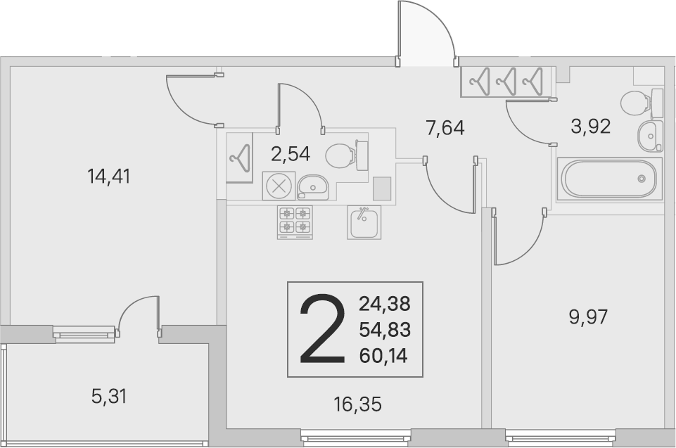 3-комнатная 60 м<sup>2</sup> на 2 этаже