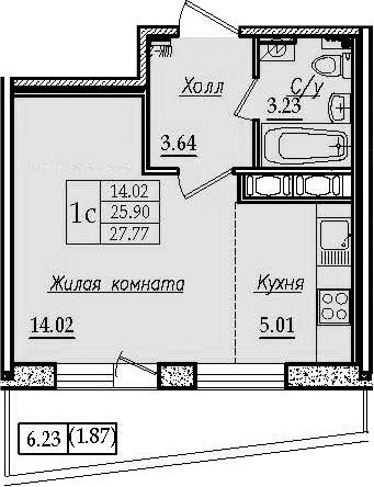 Студия 32 м<sup>2</sup> на 11 этаже