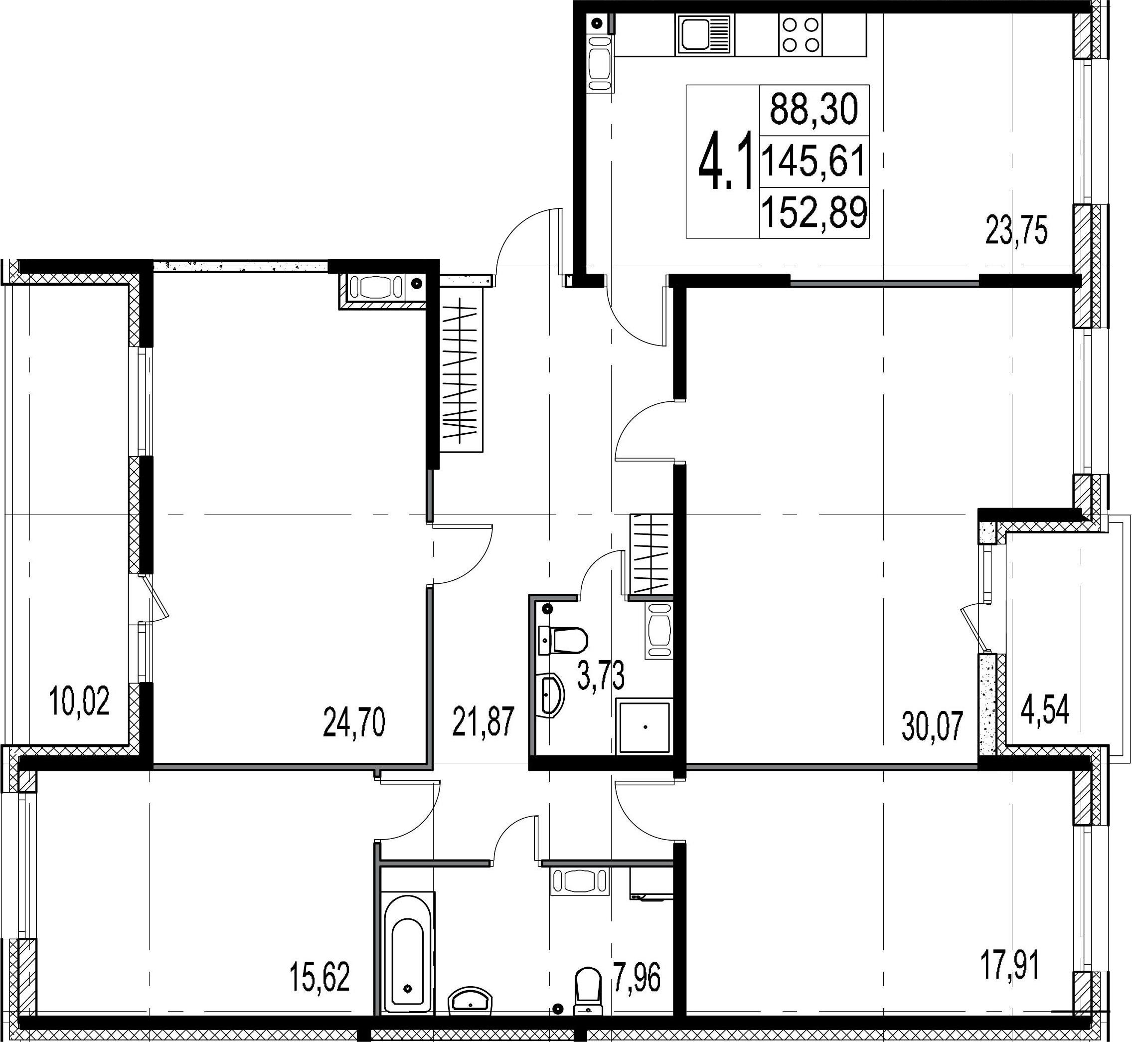 4-комнатная 160 м<sup>2</sup> на 7 этаже