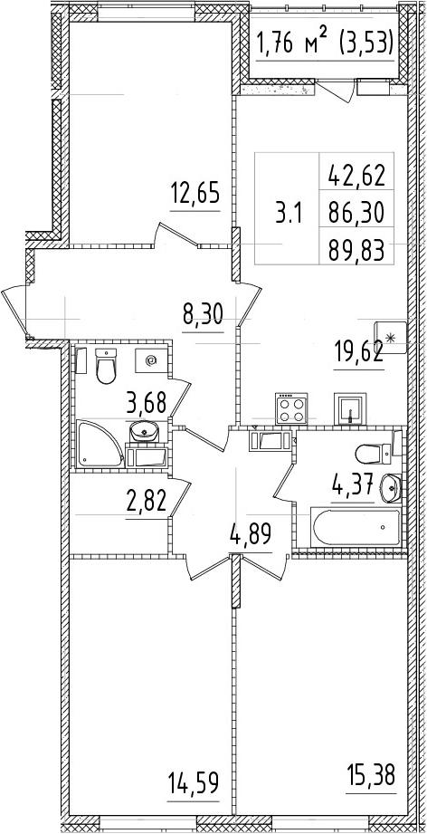4-комнатная 89 м<sup>2</sup> на 9 этаже