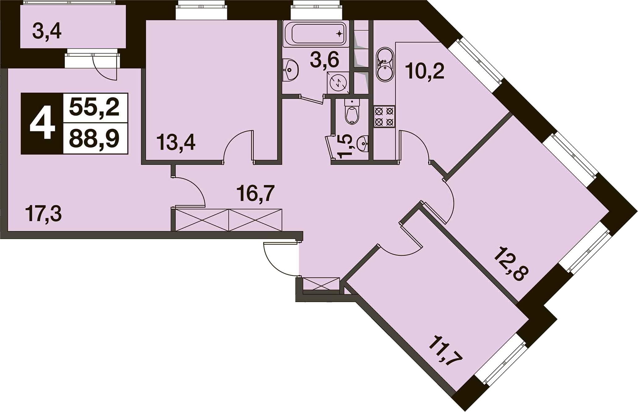 4-к.кв, 92.2 м²