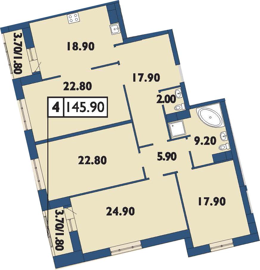 4-комнатная 149 м<sup>2</sup> на 11 этаже
