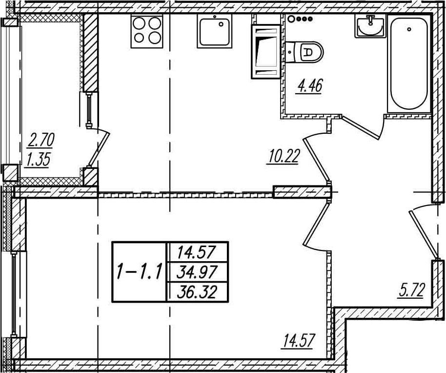 1-к.кв, 37.67 м²