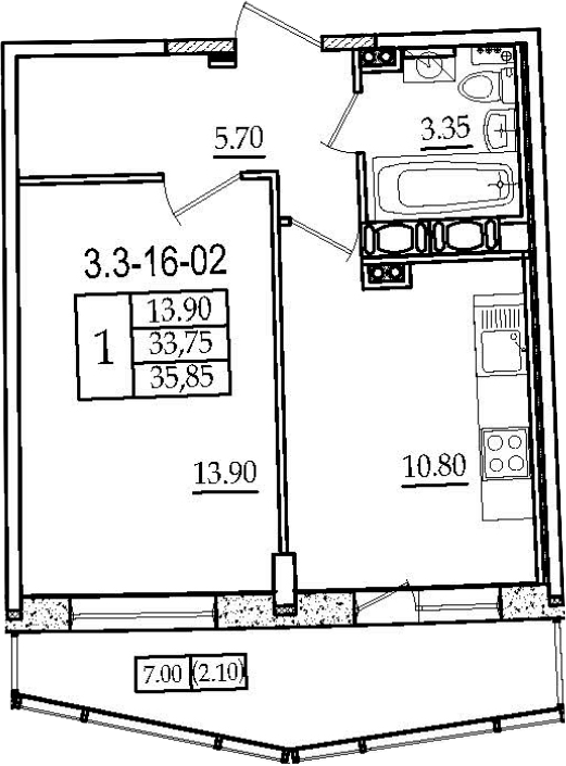 1-комнатная 40 м<sup>2</sup> на 16 этаже