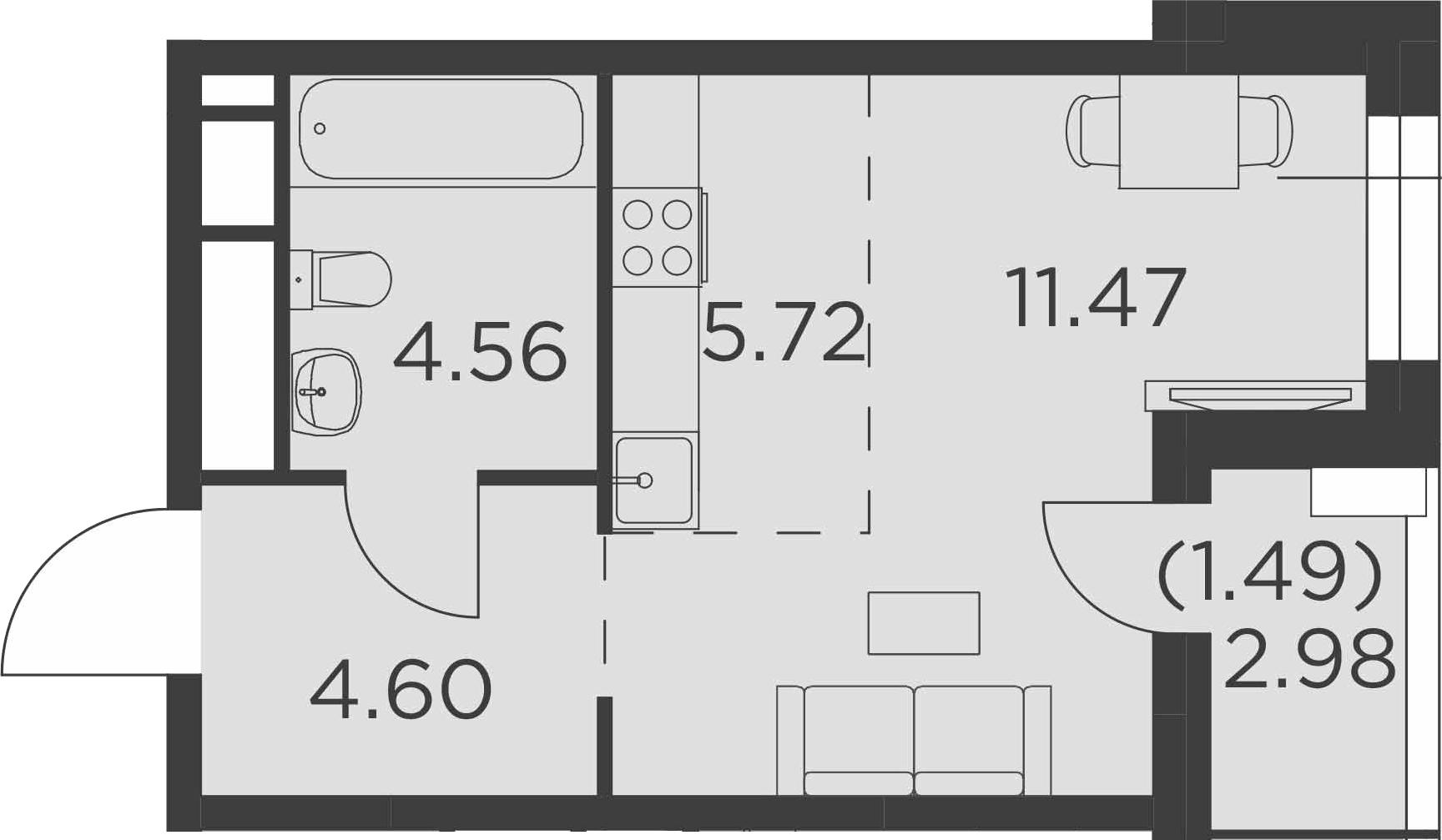 Студия, 29.33 м²