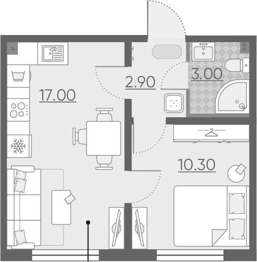 2-комнатная 33 м<sup>2</sup> на 1 этаже