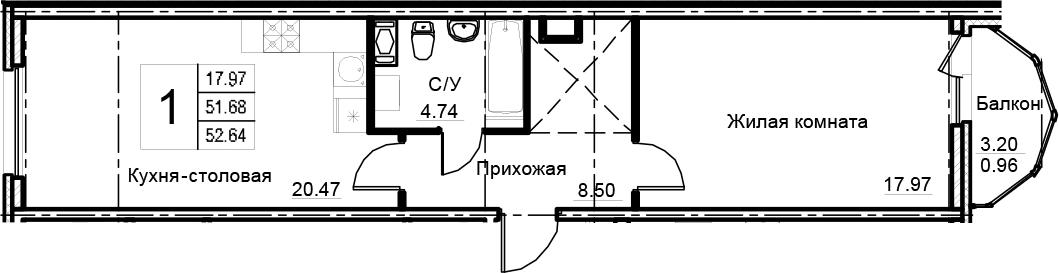 1-комнатная 54 м<sup>2</sup> на 11 этаже