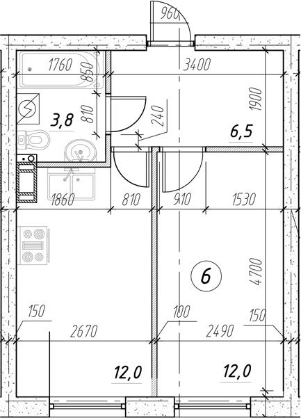 1-к.кв, 34.3 м²
