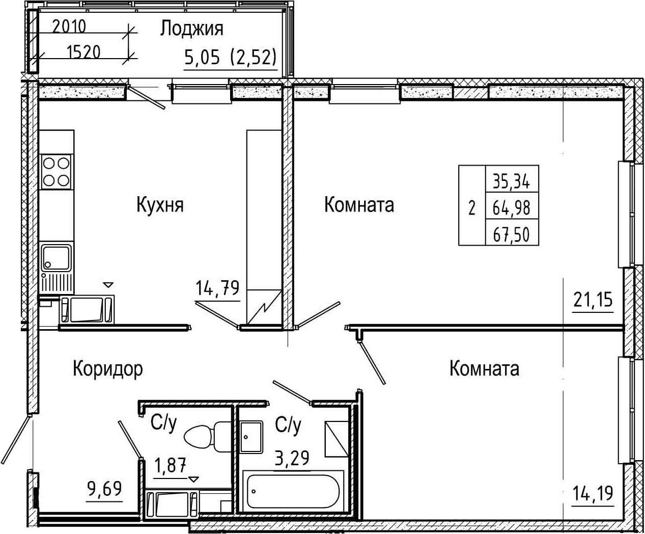 2-комнатная 70 м<sup>2</sup> на 5 этаже