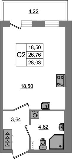 Студия 30 м<sup>2</sup> на 1 этаже