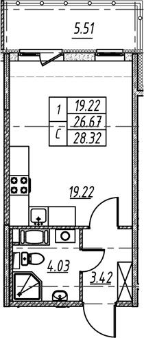 Студия 32 м<sup>2</sup> на 5 этаже