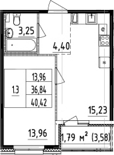 2-комнатная 40 м<sup>2</sup> на 1 этаже