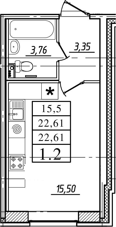 Студия, 22.61 м²