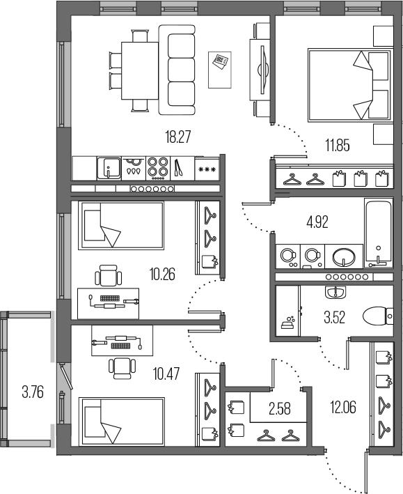 4-комнатная 77 м<sup>2</sup> на 7 этаже