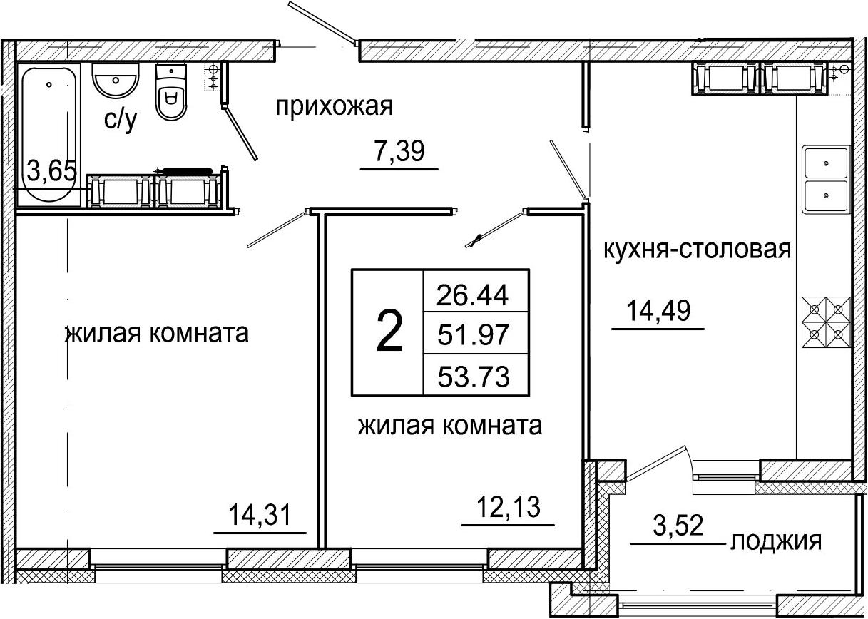 3-комнатная 55 м<sup>2</sup> на 16 этаже