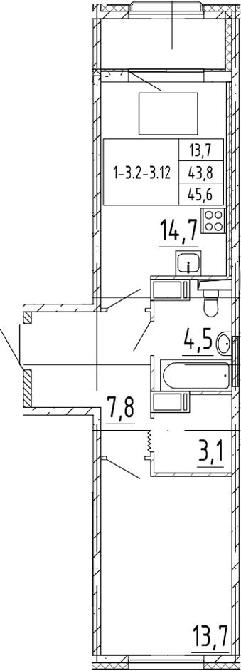 1-комнатная 47 м<sup>2</sup> на 9 этаже