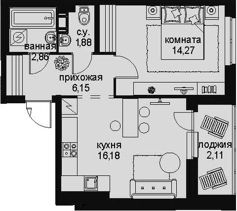2-к.кв (евро), 45.56 м²