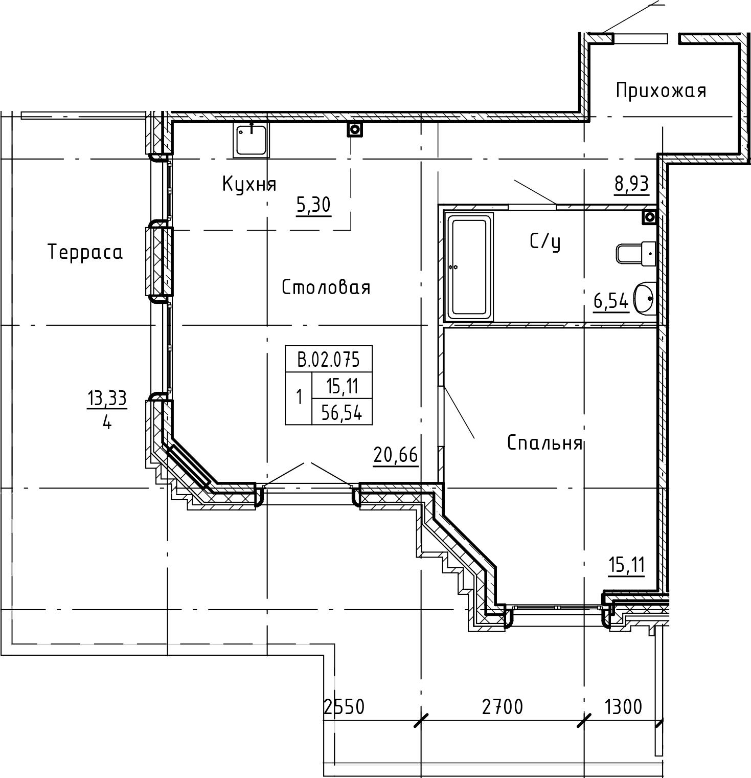 2-комнатная 98 м<sup>2</sup> на 2 этаже