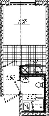 Студия 17 м<sup>2</sup> на 2 этаже