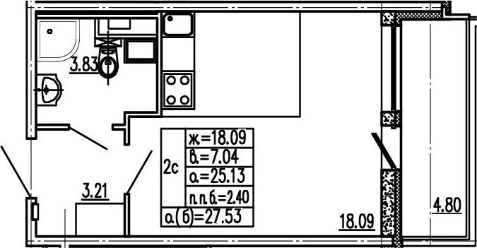 Студия, 29.93 м²