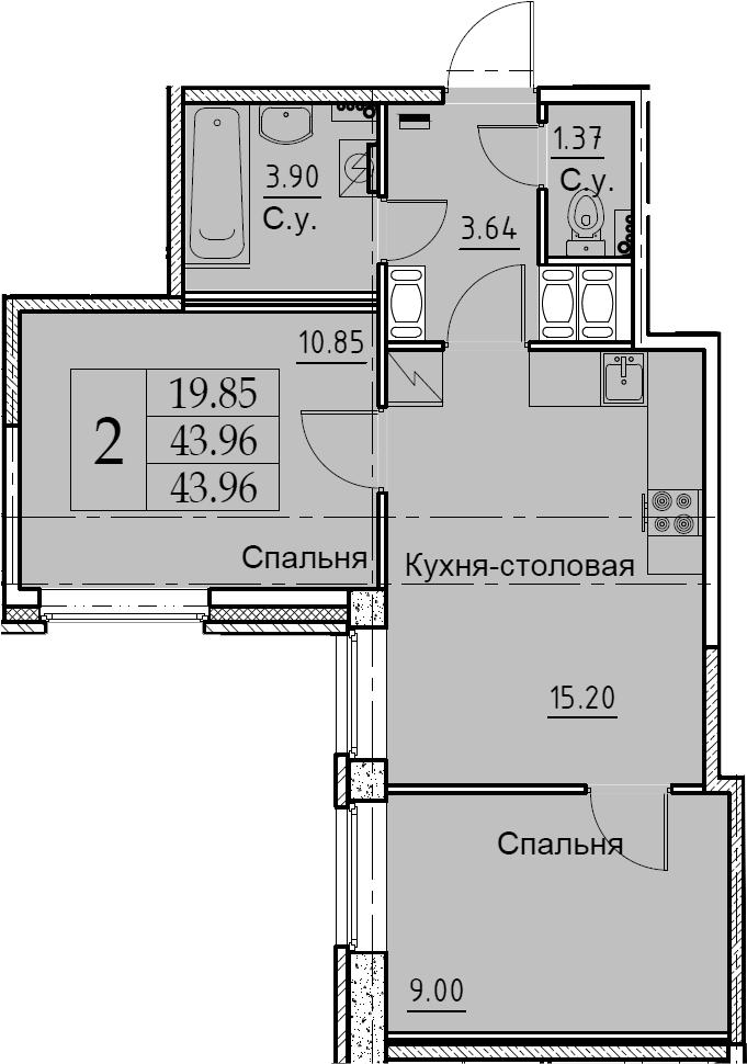 3-комнатная 43 м<sup>2</sup> на 2 этаже